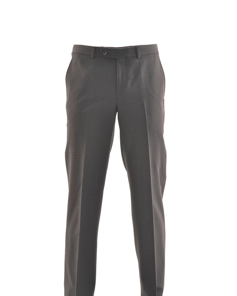 RIVIERA Modern Fit Charcoal with Red Block Washable Dress Pant