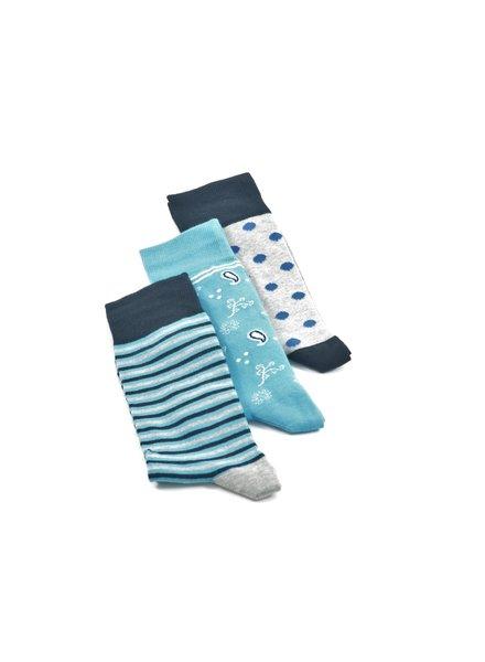 LORENZO Blue Grey Multi Pack Socks