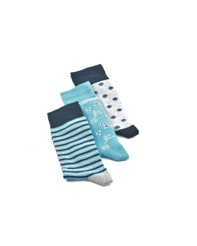 LORENZO Blue Grey Multi Pack Socks
