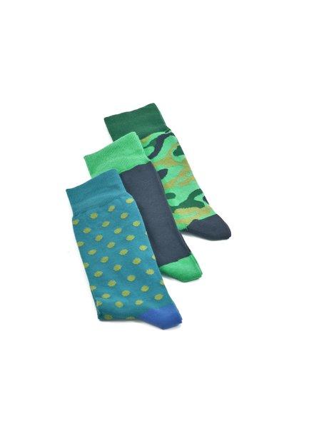 LORENZO Green Navy Multi Pack Socks