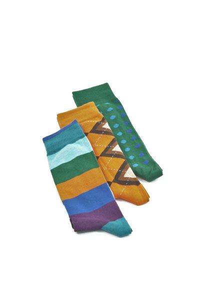 LORENZO Green Orange Multi Pack Socks