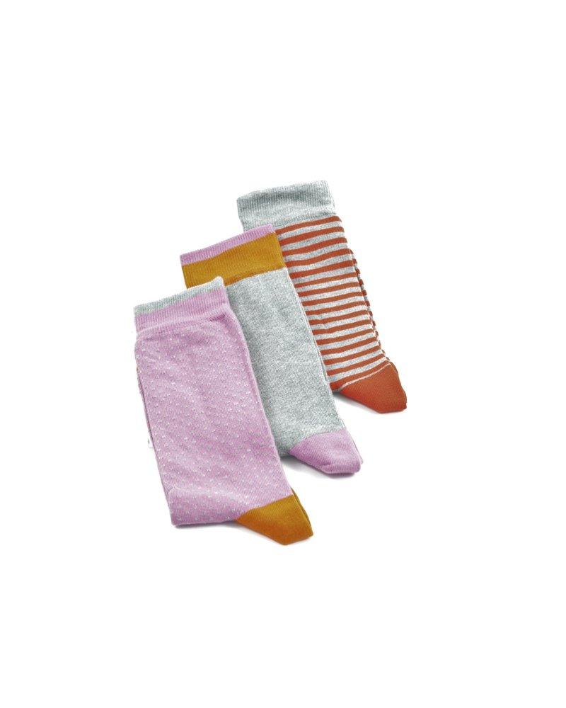 LORENZO Grey Pink Multi Pack Socks