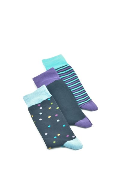 LORENZO Navy Purple Multi Pack Socks