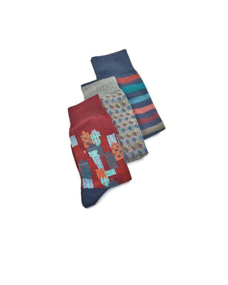 BUGATCHI UOMO 3 Pack Gift Set Socks Bordeaux
