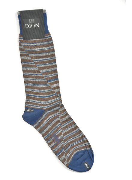 DION Brown Split Stripe Sock