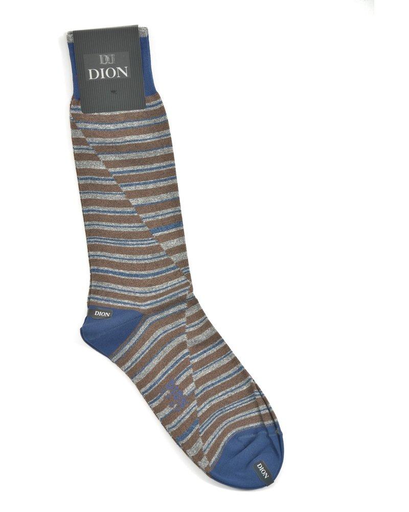 DION Brown Split Stripe Sock
