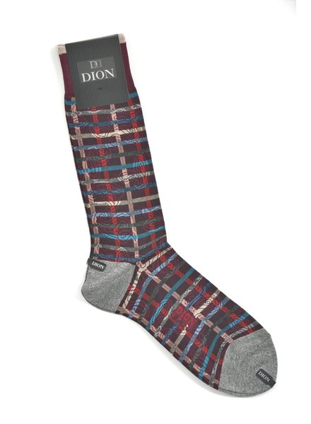 DION Burgundy Multi Stripe Sock