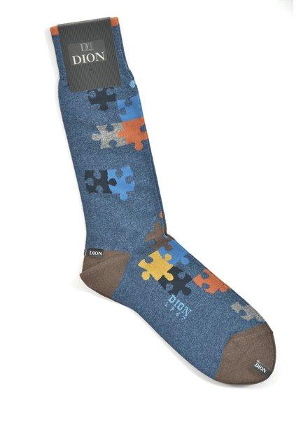 DION Blue Puzzle Sock