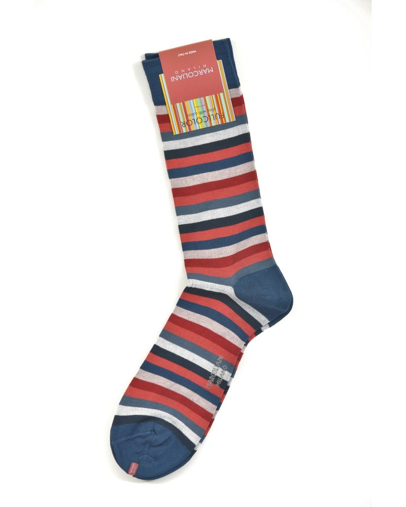 MARCOLIANI Pima Cotton Lisle Rainbow Stripe Socks