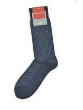 MARCOLIANI Pima Cotton Basket Pinpoint Navy Socks