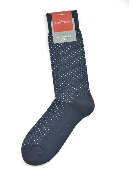 MARCOLIANI Pima Cotton Basket Pinpoint Navy Socks