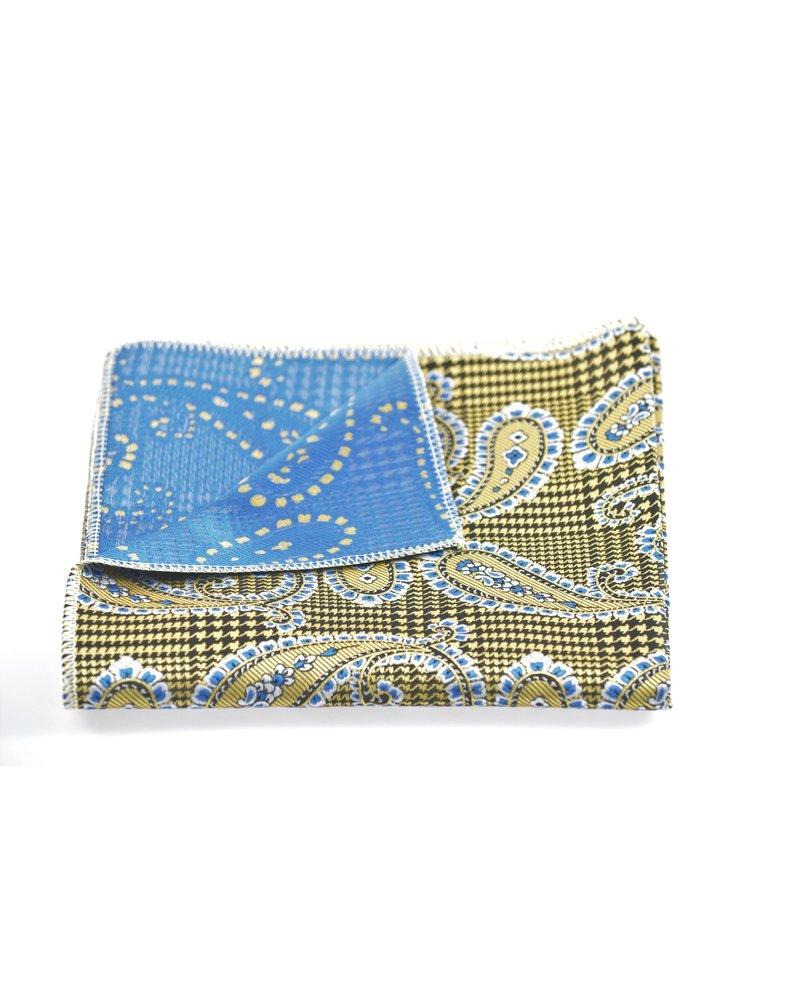MONTEBELLO Tan Blue Paisley Pocket Square