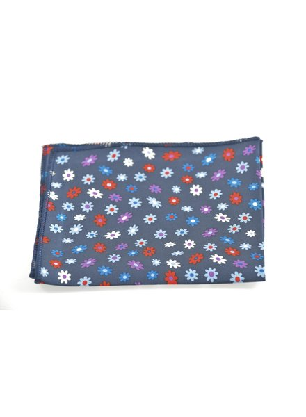 MONTEBELLO Navy with Red Daisy Pocket Square