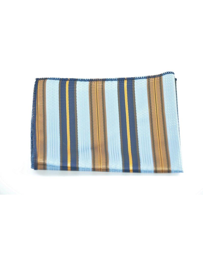 MONTEBELLO Blue Tan Striped Pocket Square