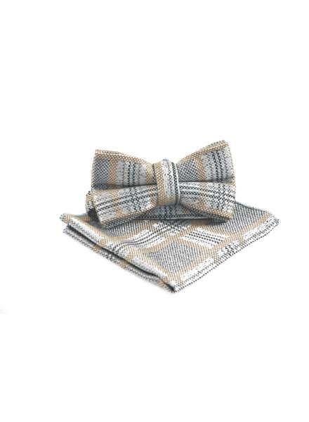 Grey Taupe Check Bowtie
