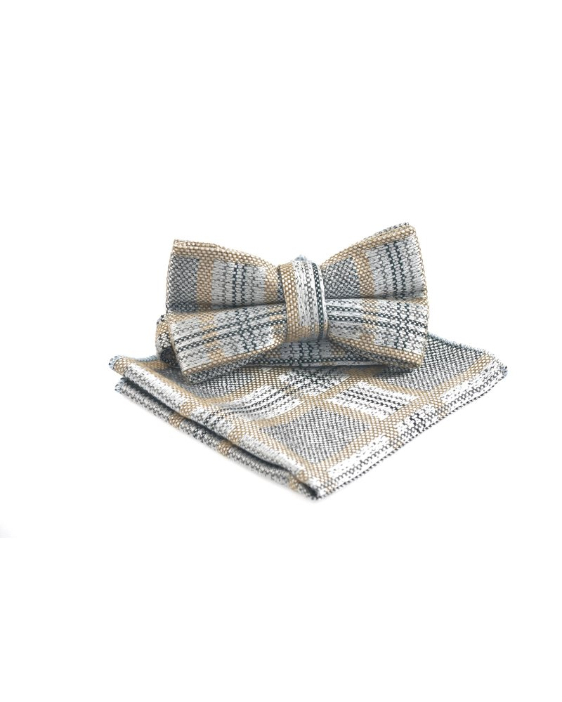 MONTEBELLO Grey Taupe Check Bowtie
