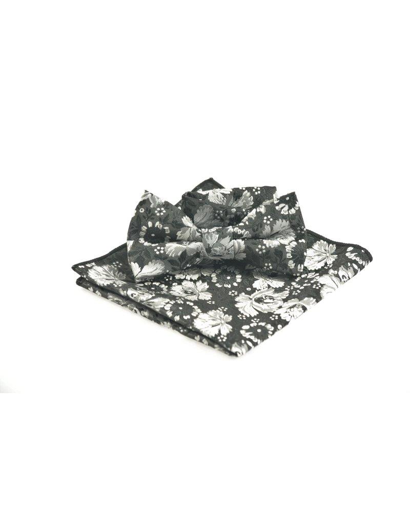 MONTEBELLO Black Grey Floral Bowtie