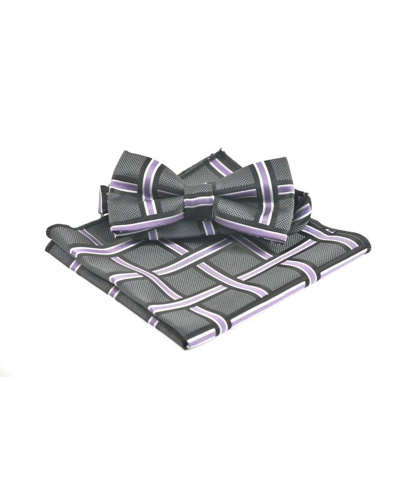 Black Purple Block Bowtie