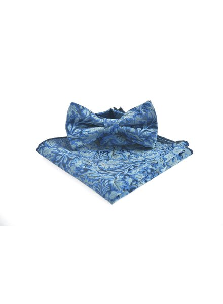 Blue Grey Floral Bowtie
