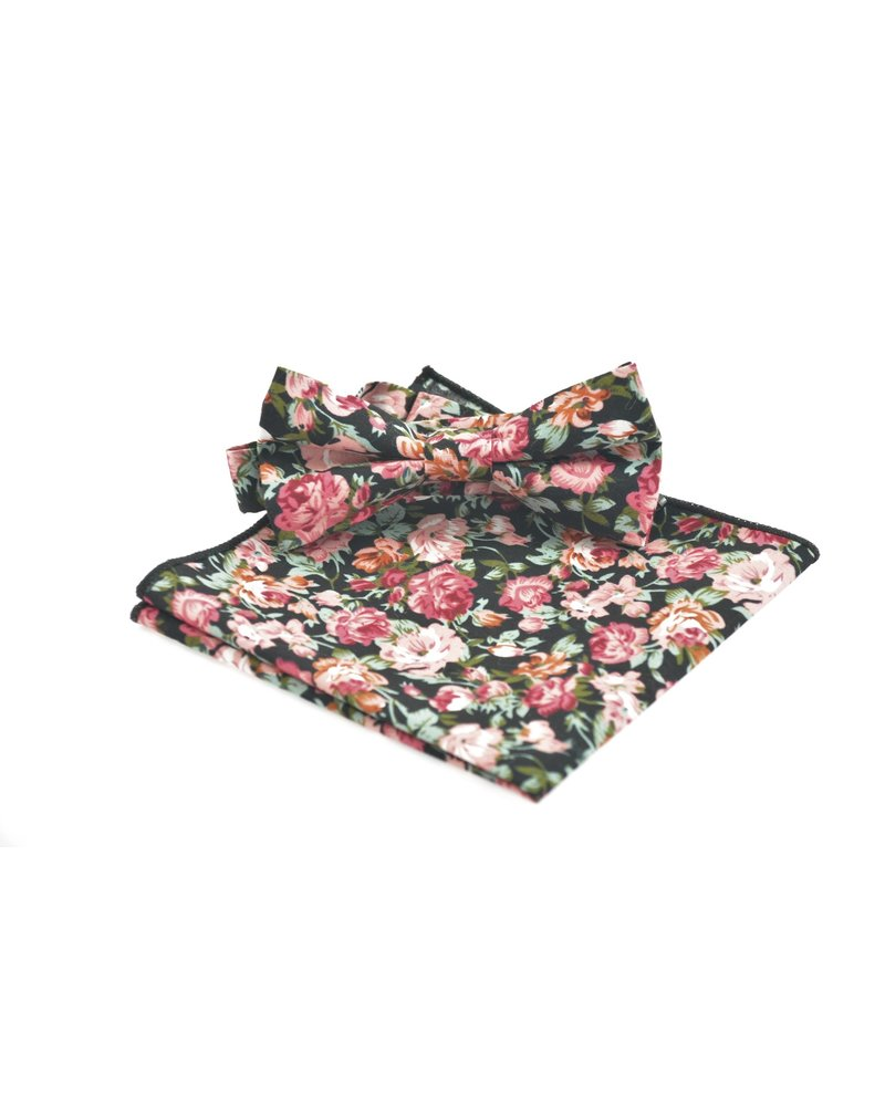 MONTEBELLO Black with Red Floral Bowtie