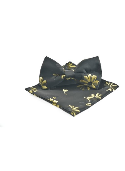Black with Gold Daisy Bowtie