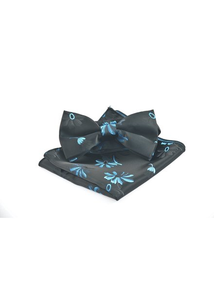 Black with Blue Daisy Bowtie