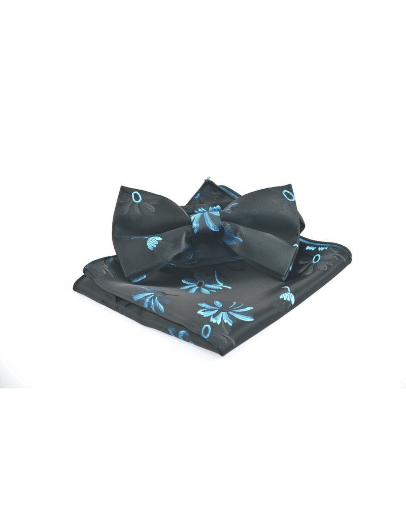 MONTEBELLO Black with Blue Daisy Bowtie