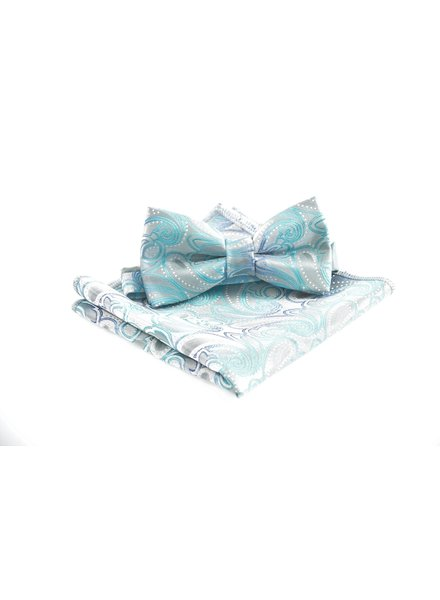 Grey with Teal Paisley Bowtie