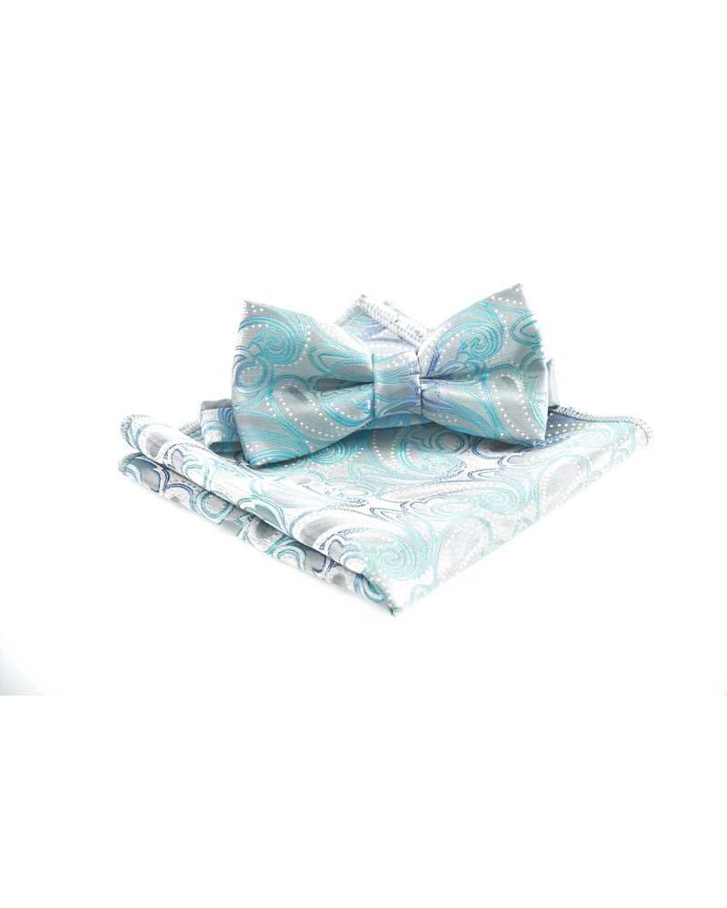 MONTEBELLO Grey with Teal Paisley Bowtie