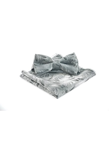 Grey with Grey Paisley Bowtie