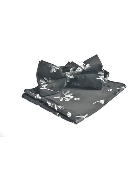 Black with Grey Floral Bowtie
