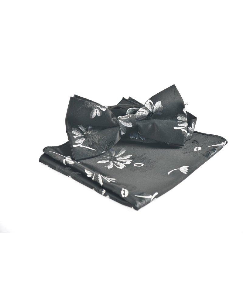 Black with Grey Floral Bowtie