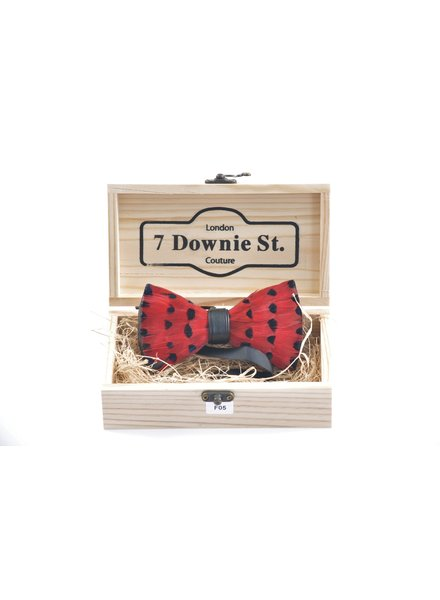 7 DOWNIE Red & Black Feather Bowtie
