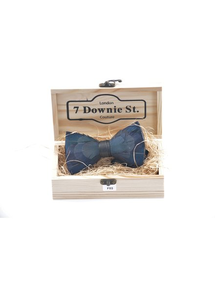 7 DOWNIE Teal & Navy Feather Bowtie