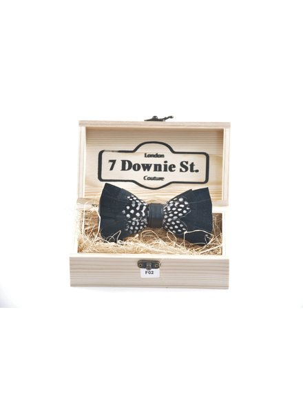7 DOWNIE Black & Grey Feather Bowtie