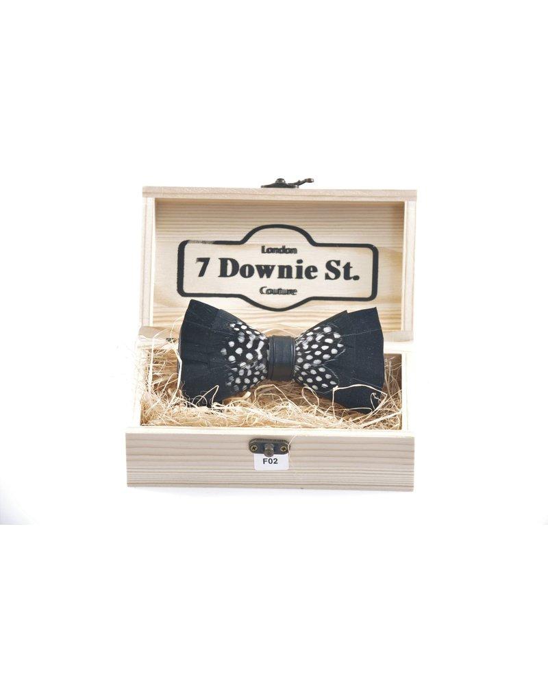 7 DOWNIE Black & Grey Feather Bowtie