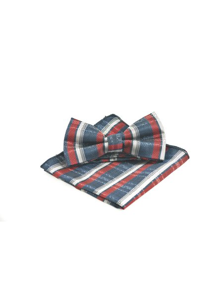 Navy Red Grey Bowtie Set