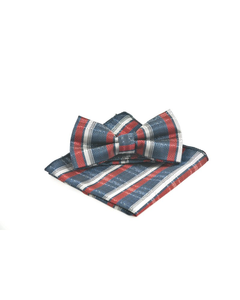 MONTEBELLO Navy Red Grey Bowtie Set