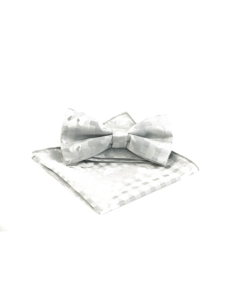 MONTEBELLO Grey Self Plaid Bowtie Set