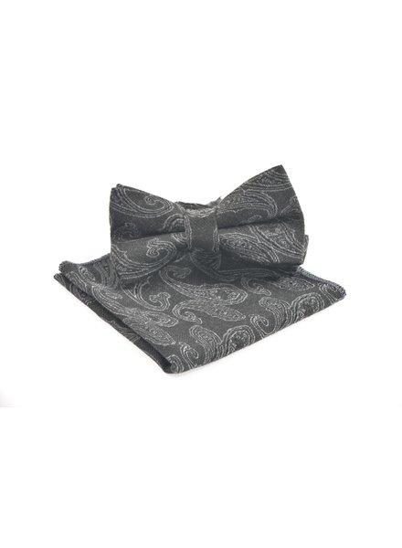 Charcoal Paisley Bowtie Set