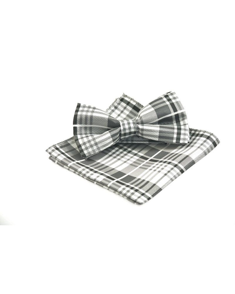 Grey Plaid Bowtie Set