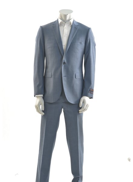 PAUL BETENLY Modern Fit Blue Sharkskin Suit