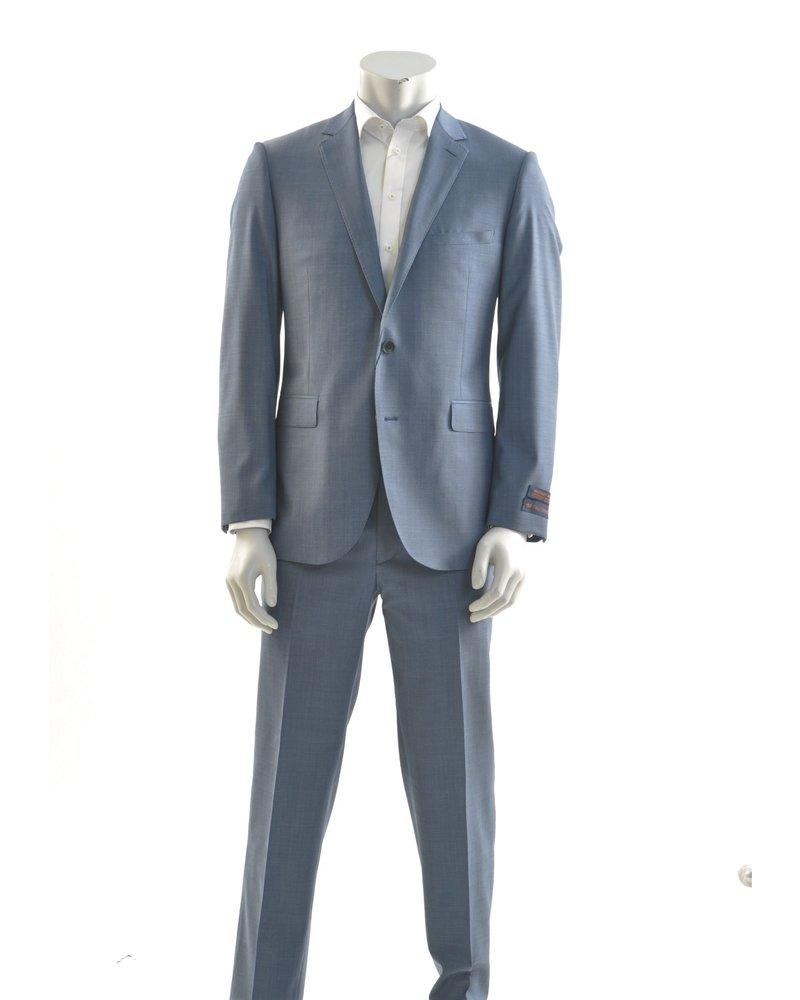PAUL BETENLY Modern Fit Blue Sharkskin Suit