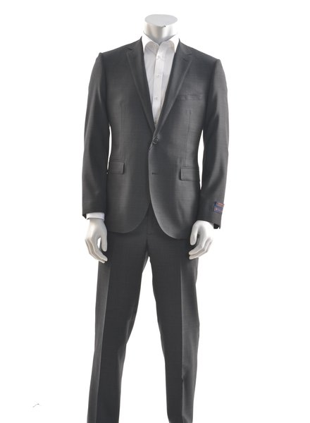 PAUL BETENLY Modern Fit Charcoal Navy Glencheck Suit