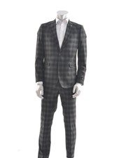 SUITOR Slim Fit Charcoal Plaid Suit