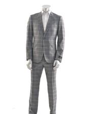 SUITOR Slim Fit Grey Blue Windowpane Suit