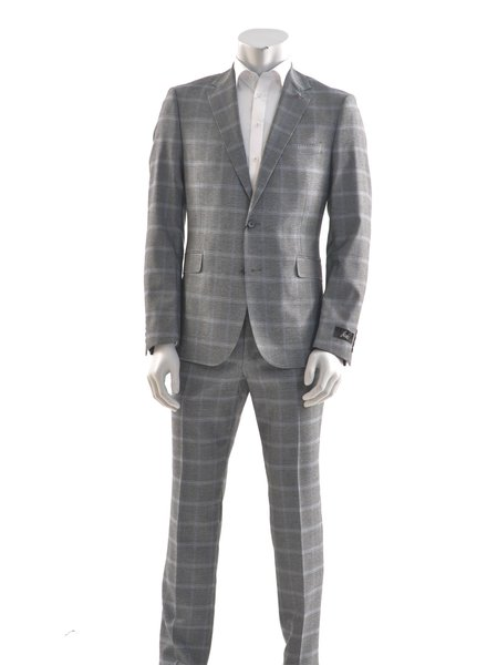 SUITOR Slim Fit Grey Blue Windowpane Suit