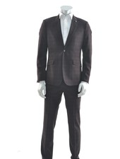 SUITOR Slim Fit Burgundy Check Suit