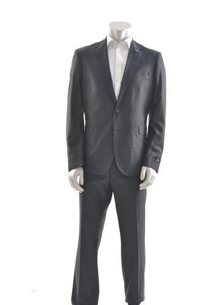 SUITOR Slim Fit Mid Blue Glen Check Suit