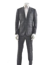 SUITOR Slim Fit Mid Blue Bold Plaid Suit